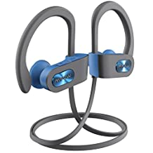 Bluetooth 4.1 Headphones,Mpow D2 Wireless Sport Headphones with 10 Hours Play Time,IPX7 Waterproof Nano Coating, Soft and Comfortable Headset,HiFi Stereo Bluetooth Earbuds w/ Curve Ear Hook,Workout Headset with Mic and Carry Pouch,Perfect for Gym and Running Workout (Blue)