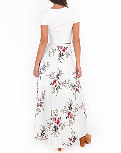 Floral Fendue Longue Femmes Jupe Cache de Boho Jupe Plage Robe Sexy Adjustable Maillot Bikini Imprim Maxi Blanc t ngFO1xYFR