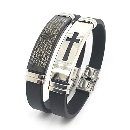 Starmond Jewelry 2 Pcs Set Men's Stainless Steel and Rubber Bracelet,Religious Black Rubber Cross Bracelet Link