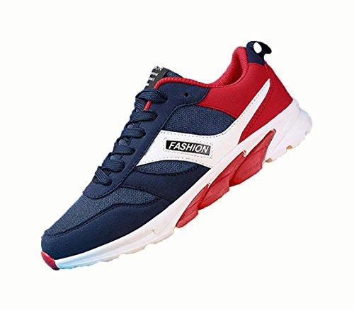 WZG los zapatos ocasionales de los hombres zapatos planos de encaje de malla transpirable zapatos corrientes de los hombres adolescentes blue red
