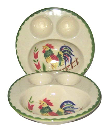 Vintage Cardinal China Rooster Pattern 6 Inch Egg Cups Bowl, Set of 2