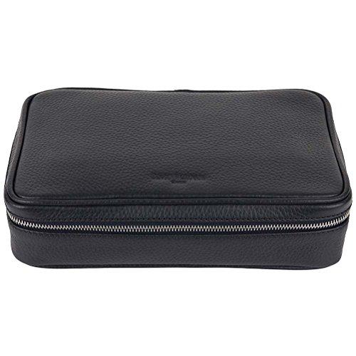David Hampton Richmond Leather Wash Bag Slate Grey by David Hampton