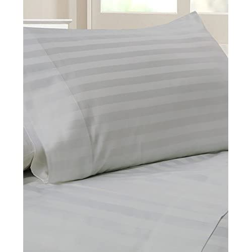 Laxlinen 300 Thread Count 100% Egyptian Cotton Super Quality 1PC Flat Sheet(Top Sheet) Queen Bed Size, Silver Grey Stripe supplier