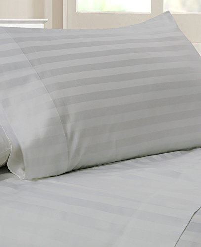 Luxury Italian Finished 600-Thread-Count Egyptian Cotton Bed Sheet Set 21 Inch Extra Deep Pocket Grand King Size, Silver Gray Stripe 600TC 100% Cotton Bedding ()