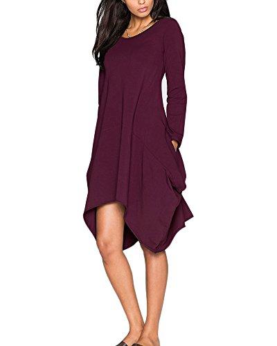Damen Große Größen Kleid Cocktailkleid Plus Size Abendkleid Langarm ...