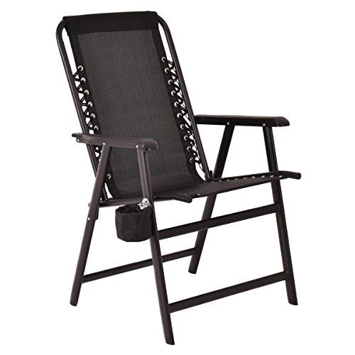 Giantex Portable Folding Outdoor Arm Beach Chair W/Cup Holder Fishing Camping (Black) ()