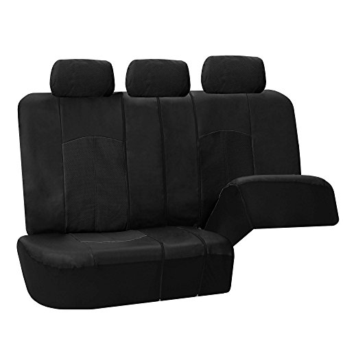 41fkw-asLFL FH Group PU008BLACK115 Full Set Seat Cover (Perforated Leatherette Airbag Compatible and Split Bench Ready Black)