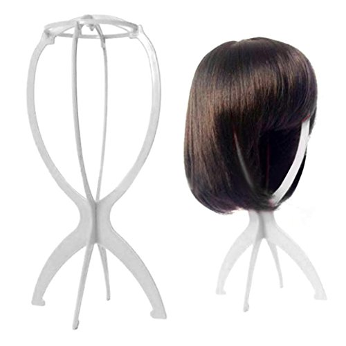 Iusun Wig Stand, Portable Wig Stand, Wig Dryer (6, White)