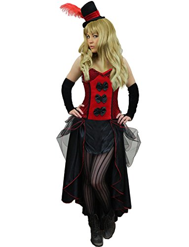 Yummy Bee Womens Burlesque Can Can Saloon Girl Costume + Wide Striped Tights Red Size 12 - 14