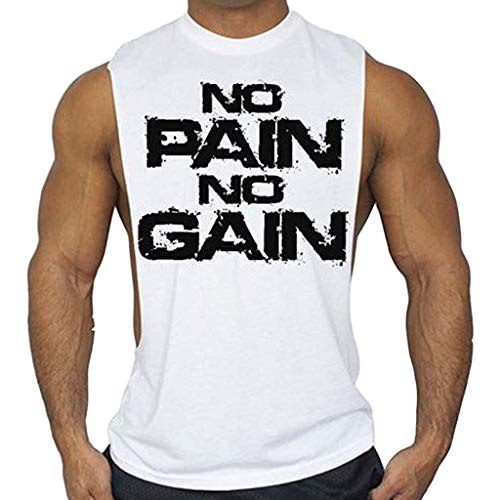 (Dainzuy Mens Tank Tops Letter Print Sleeveless Stringer Bodybuilding Gym Workout Fitness Vest Tees Cool Crewneck Shirts White)