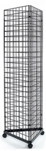 2' x 6' Foor Wire Grid Panel 3-Sided Tower Floorstanding Display Kit with Rolling Base. Color: (Triangle Grid)