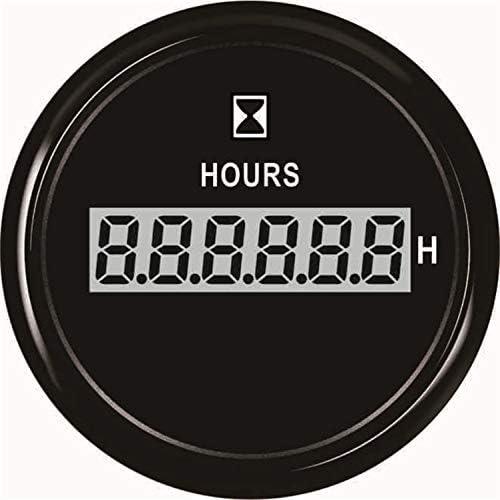 JPLLYY 置時計ゲージ52ミリメートル防水Hourmetersオートボートモーターホームユニバーサル用12V / 24Vタイムゲージ (Color : Digital black 1, Size : フリー)