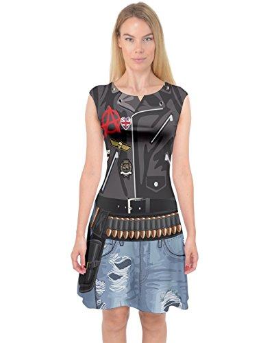 PattyCandy Womens Funny Faux Rock Biker Costume Capsleeve