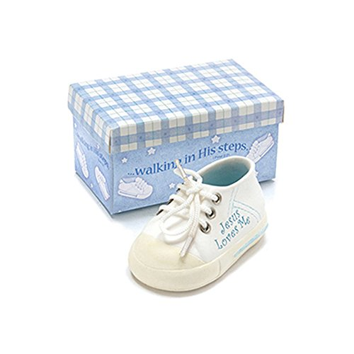 Brownlow Gifts Keepsake Sneaker for Baby Boy, Oh So Cute with Jesus Loves Me