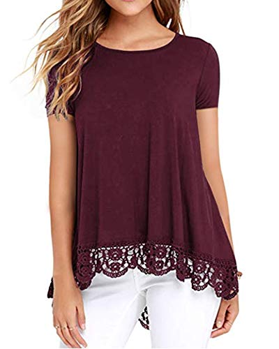 Womens Short Sleeve Tops T Shirt Tee Blouses Tunic Lace Red Wine M