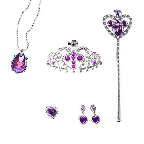 e-supao Princess Sofia Rapunzel Dress up The First 5 Pieces Party Set for Sofia Costume Disney Crown Wand Necklace Earrings Ring (purple-5pcs)