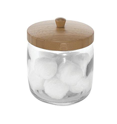 mDesign Glass Bathroom Vanity Storage Organizer Canister Jar for Cotton Balls, Swabs, Beauty Blenders, Makeup Sponges, Bath Salts, Hair Ties, Jewelry - Clear Jar/Natural Bamboo Wood Lid