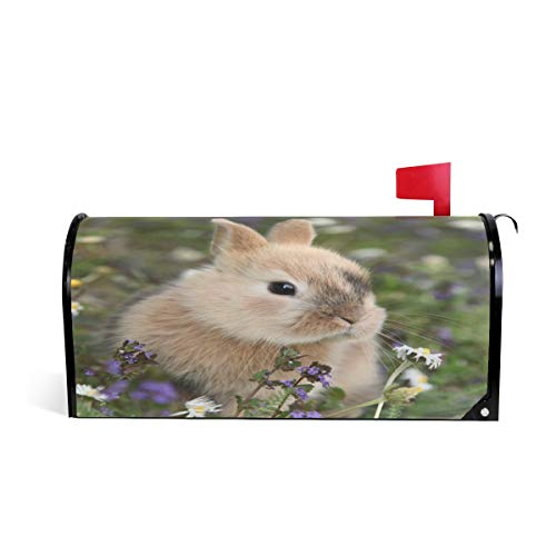 WOOR Cute Bunny Rabbit in Flowers Meadow Magnetic Mailbox Cover MailWraps Garden Yard Home Decor for Outside Oversized-25.5