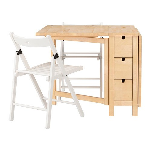 Ikea Table and 2 chairs, birch, white 12202.292311.2238