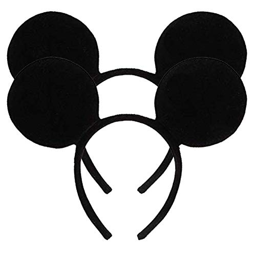 Pack of 2 Mickey Minnie Mouse Ears, Minnie Mouse Red Bow Sparkled Headband for Baby Boys Girls Birthday Party(Black) -