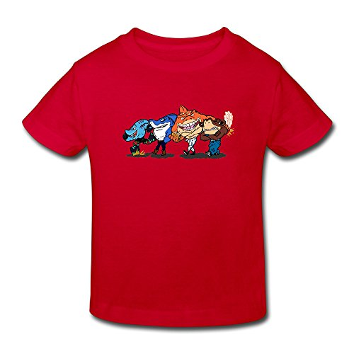 Toddler's 100% Cotton Street Sharks Funny T-Shirt Red US Size 2 Toddler -