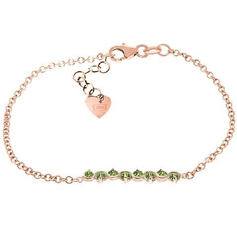 QP bijoutier naturel péridot Bracelet en or Rose 9 carats, 1.55ct 5085R-ronde
