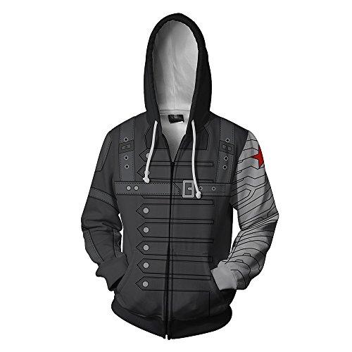 Winter Soldier Costumes Hoodie - Joyfunny Mens Superhero Hoodie WS Zip