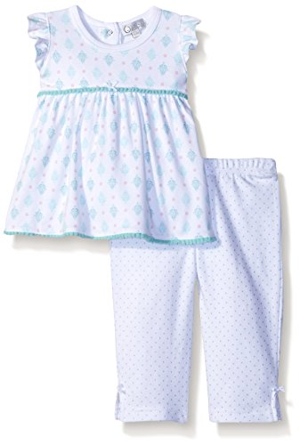 Quiltex Baby Girls' 2pc Damask Top with Dot Print Pant Pom Trim, Turquoise, 3/6