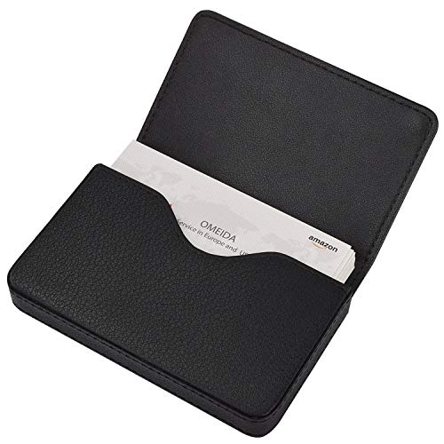 Business Card Holder Leather Case (MaxGear Genuine Leather Business Card Holder Case for Men or Women Name Card Case Holder with Magnetic Shut Black,Holds 25 Business Cards)