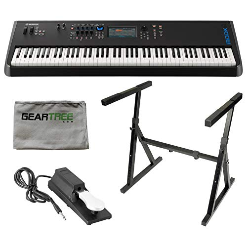Yamaha MODX8 88-Key Weighted Synthesizer Keyboard w/Sustain Pedal, Cleaning Clo