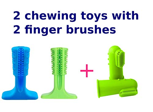 KNY Dog Toothbrush Stick and Chew Toys Set | Includes 2 Finger Brushes and 2 Chew Toys | Dog Lovers Dental Care Must Have Set for Effective Teeth Cleaning and Massage – 4 Piece Bundle