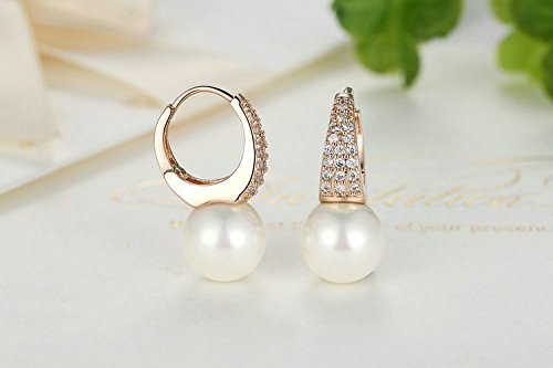 Amazon.com: Aretes de Mujer Pendientes Joyería Fina De Moda Rose Gold Earrings for Women with Pearls & Crystals: Jewelry