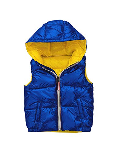 Waterproof Quilted Fall Ultralight Jacket with Unisex Cute Waistcoat Sleeveless Vest Cotton Pockets Padded Kids Girls for Snowproof Gilet BESBOMIG Boys Winter Warm Blue Oqtx6qP