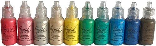 Ranger Liquid Pearls Dimensional Pearlescent Paint | Favorites Bundle of 10 Colors | Bisque, Platinum, Daffodil, Ruby Red, Petal Pink, Royal Blue, Ocean Blue, Peacock, Ivy Green, Dark Chocolate