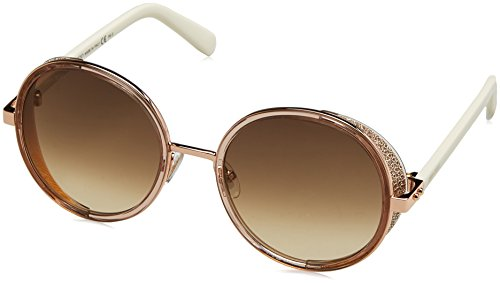 Jimmy Choo Metal Rectangular Sunglasses 54 01KH Gdbe Glitterwh CC brown gradient lens by JIMMY CHOO