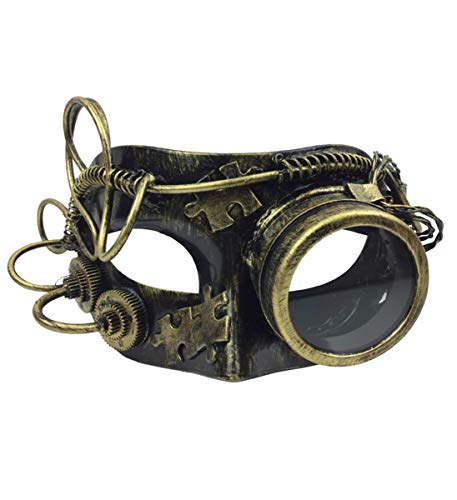 KBW Adult Unisex Steampunk Gold Venetian Masquerade Monocle Mask Vintage Victorian Style Retro Punk Rustic Gothic Mechanical Party Bling Costume Accessories -