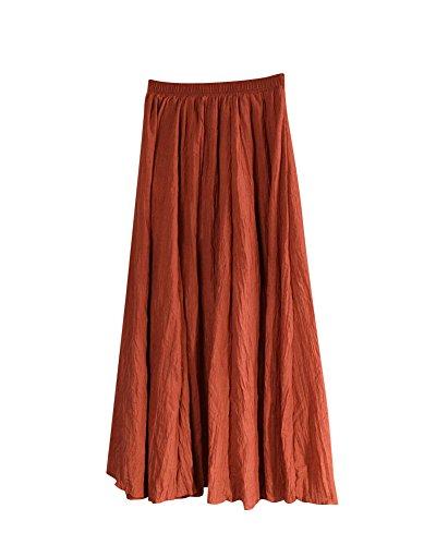 Femme Rtro Pliss Jupe Maxi Longue De Plage Bohme Elgante Classique Long Skirt Taille Elastique En Coton Lin Grande Taille Rouille Rouge