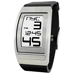 Phosphor Men's WC03 World Time Curved E-INK Leather Strap Watch