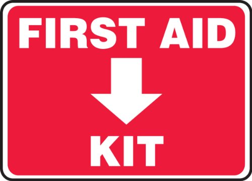 """Accuform Signs MFSD506VP Plastic Safety Sign, Legend """"FIRST AID KIT (ARROW DOWN)"""", 7"""" Length x 10"""" Width x 0.055"""" Thickness, White on Red"""