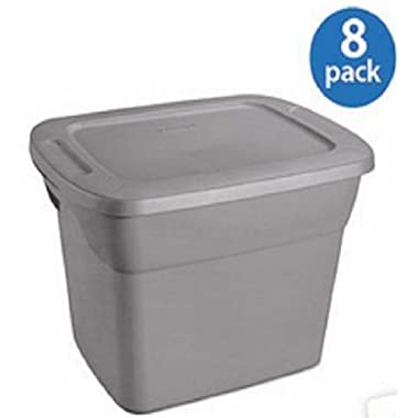Set of 8, Packing Storage Bins with Lids, 18 Gallons (72-quart), Sterilite, Tote Box, Stackable Plastic Containers, 8-New
