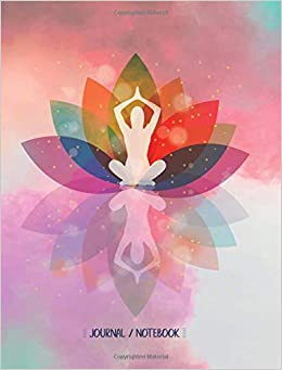 Journal Notebook Colorful Lotus Flower Yoga Pose Composition