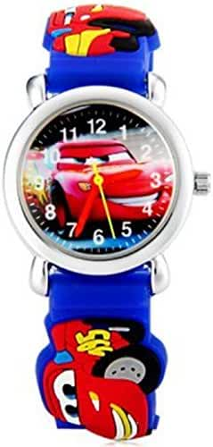 OnceAll Children' Sports Watches Catoon 3D Car Lightning McQueen Non-toxic Silicone Boys Girls Sports Watch