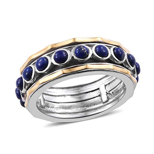 (Shop LC Delivering Joy ION Plated 14K Yellow Gold Round Lapis Lazuli Spinner Band Style Ring for Women Jewelry Gift Size 8)
