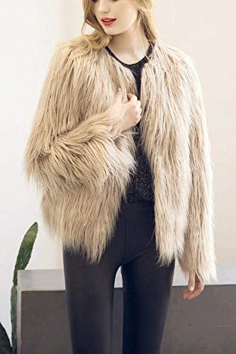 Unico Pelliccia Manica Di Lanoso Giacca Imbottita Ragazza Invernali Party Monocromo Donna Chic Moda Khaki Cappotto Giubotto Lunga Giaccone Elegante w8ppqZR5