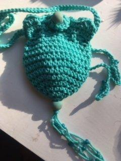 Amulet bag ~ Aqua with bead closure ~ Cotton yarn ~ Ravenz Roost handmade item ()