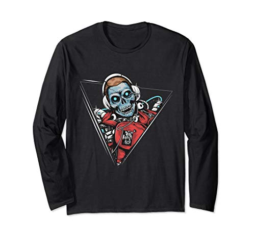 Skeleton DJ Mixing on the Decks Playing for Halloween Long Sleeve T-Shirt