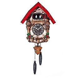 GOPG Premium Mechanical Wall Clock, Japanese-Style Solid Wood Silent Precise Timekeeping Cuckoo Creative Decorative Clock -32x54x16cm(13x21x6inch)