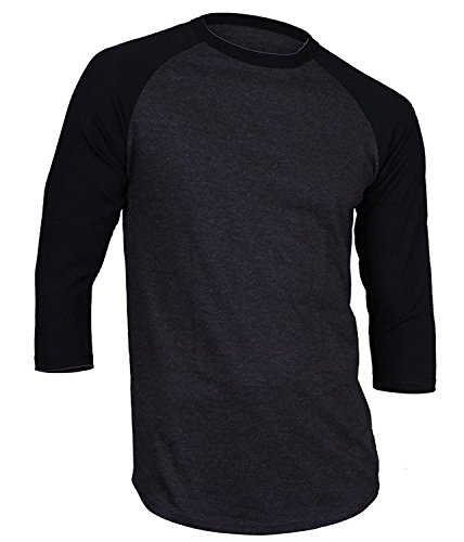 Mens Baseball Raglan 3/4 Sleeves T Shirts Casual Cotton Jersey S-3XL