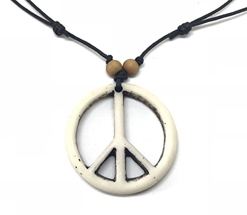 Peace Sign Necklace - Peace Symbol Necklace - Resin Peace Sign Pendant - Adjustable Black Cord (White)