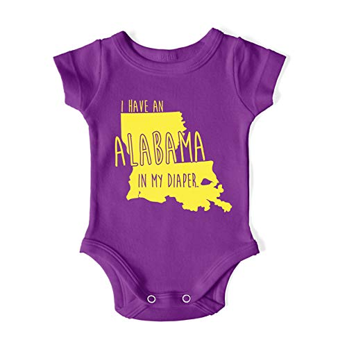 In My Diaper I Have an Alabama LSU Louisiana Fans Baby One Piece 6 Months Purple